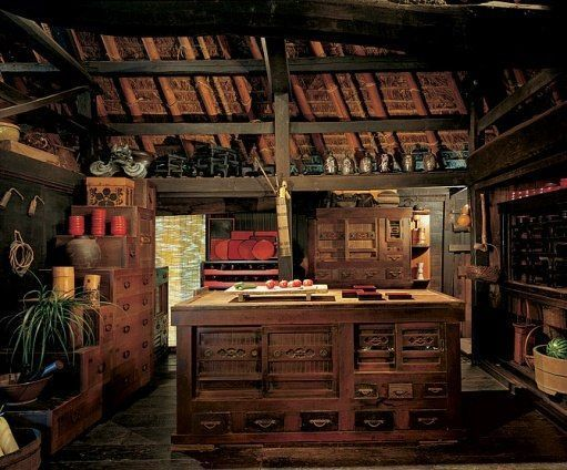 Kitchen of an early 18th century farmhouse in iya valley for 18th century farmhouse interiors