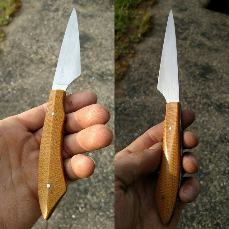 Single bevel paring knife with asymmetrical handle. Forged 1084 steel, canvas micarta and stainless pins. IG @boydknives