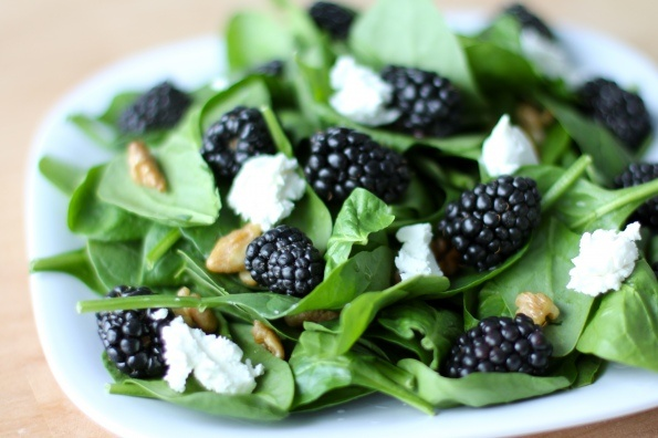 Spinach Blackberry Goat Cheese Salad...I might try it with strawberries or raspberries, too. Delicious!