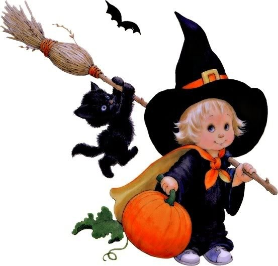 Little Halloween Witch & Kitty (Ruth Morehead)