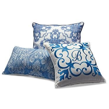 Set Of Three Cobalt Designer Outdoor Pillows