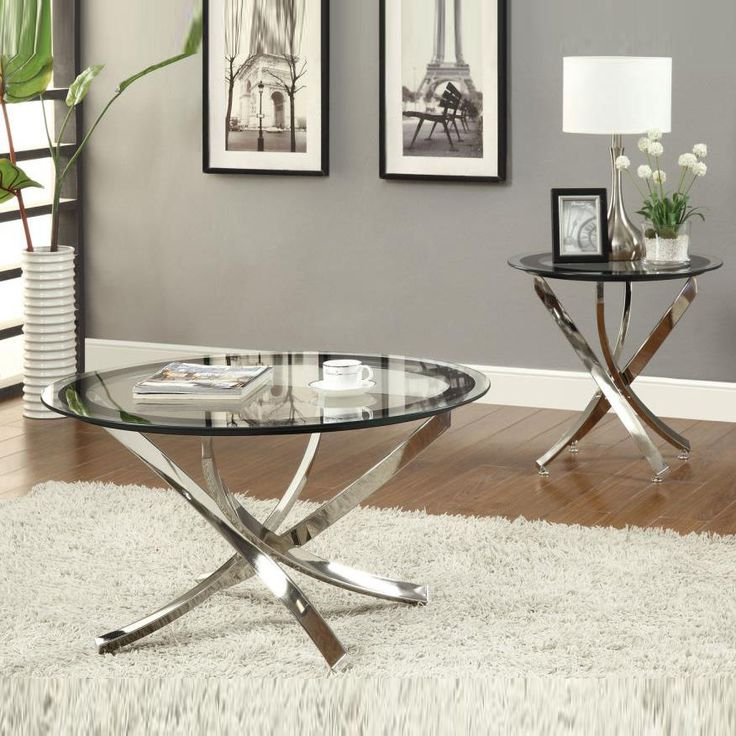 Best Nickel Round Tempered Glass Top Chrome Legs Cocktail 640 x 480