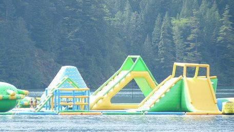 Harrison Hot Springs in BC is a beautiful beach resort surrounded by luscious mountains. A great place for families!