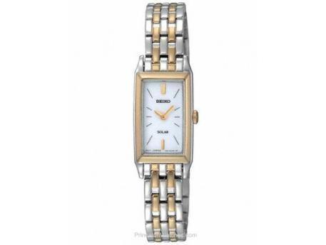 Ladies Solar Two-Tone Dress Watch rectangular case