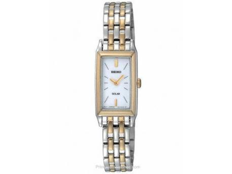 Ladies Solar Two-Tone Dress Watch rectangular case