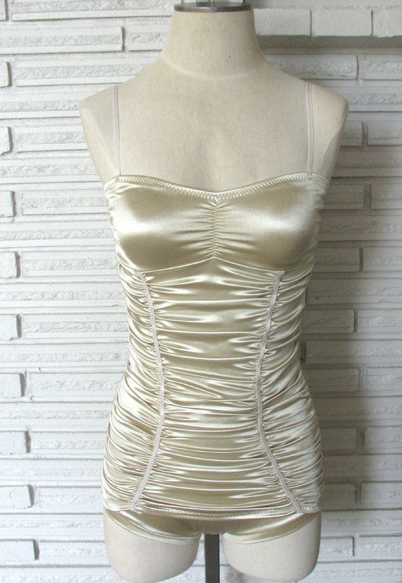 Ruched Satin Trapeze Costume, Champagne Leotard, Aerial Costume