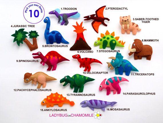Dinosaur felt magnets