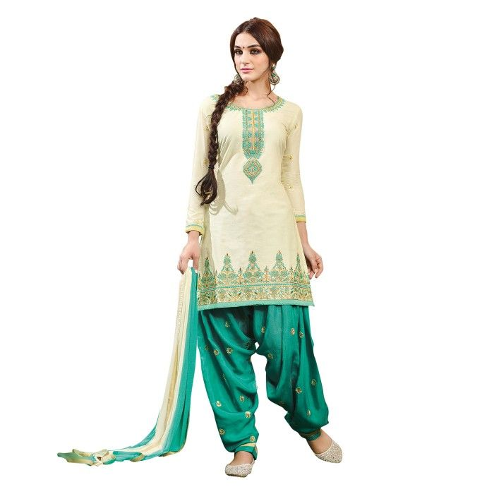 Unique Off-White and Sea Green Embroidered Dress Material with Dupatta On Smartdeals4u.com