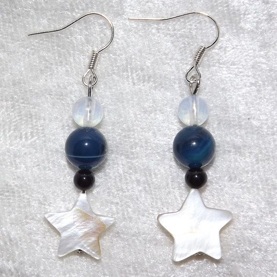 Earrings  Frozen Stars  Mother of Pearl & Gemstone by KasumiCrafts