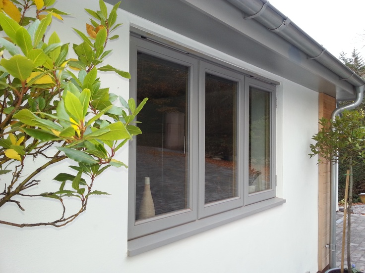 #Stormproof #window fitted with multi-point locks. The stormproof style window was essential for this exposed site. Finished in http://www.littlegreene.com/lead-colour