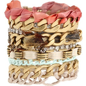 Juicy Couture - Multi Chain W/Feather Bracelet (Multi) - Jewelry, $128