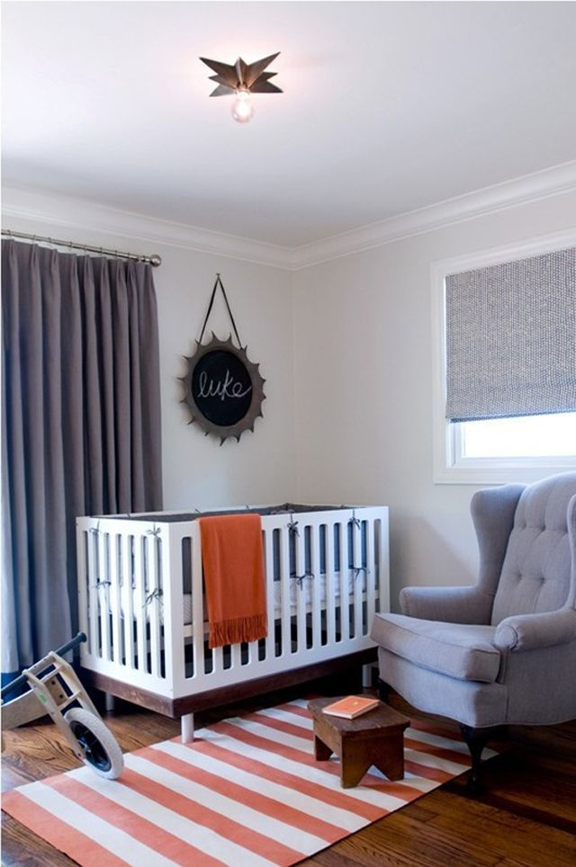 Gray and orange is always a great combination, and a rug with flat weave stripes is one of the easiest ways to introduce color! #nursery #rug: Boys Nurseries, Boys Rooms, Interiors Design, Baby Boys, Stripes Rugs, Colors Schemes, Baby Rooms, Nurseries Ideas, Gray Wall