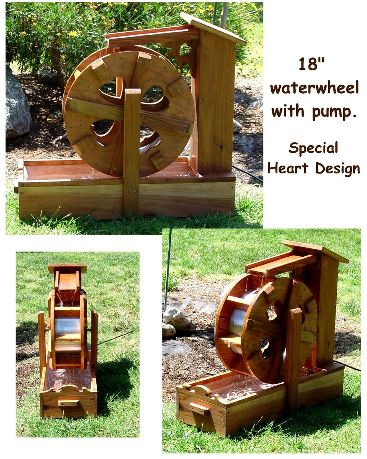 Self contained water wheel fountains by Bob's Bridges
