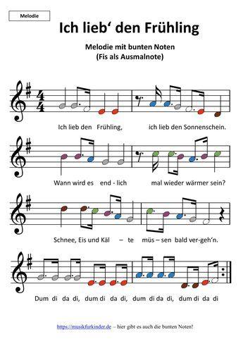 """Frühlingslied """"Ich lieb den Frühling"""" mit bunten Noten. Melodie und Begleitung kostenlos zum Ausdrucken!"""