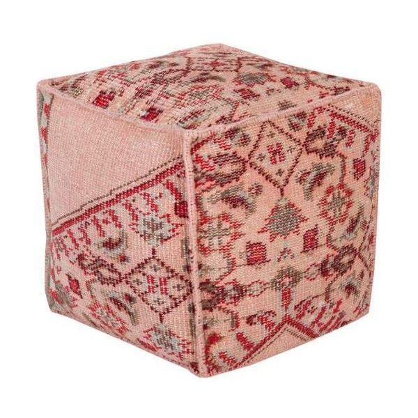 Surya ZHPF-006 Indoor Pouf from the Zahara collection Pastel Pink Home (£195) ❤ liked on Polyvore featuring home, furniture, ottomans, home decor, pastel pink, pillows, poufs, pink baby furniture, colored furniture and traditional furniture