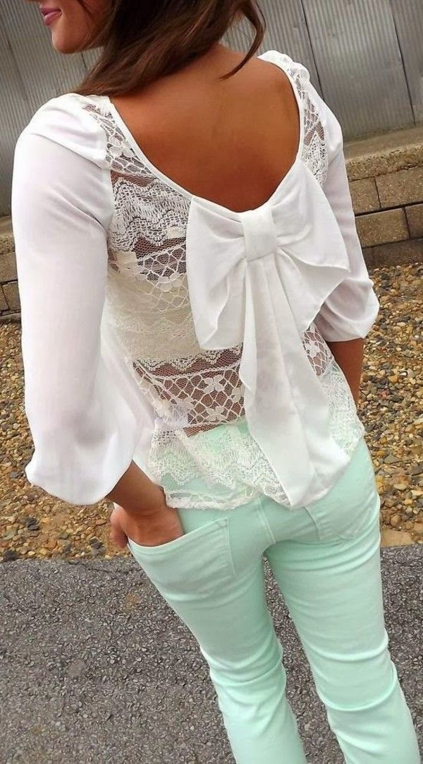 White lace top with bow and mint pants