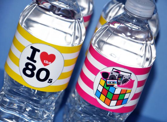 80's Theme Party Water Bottle Labels - Printable - GLAMOROUS SWEET EVENTS