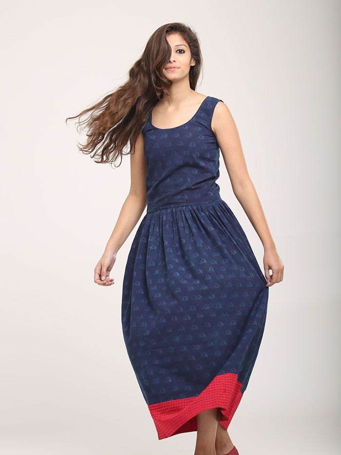 Blue Pink Elephant Block Printed Cotton Maxi Dress