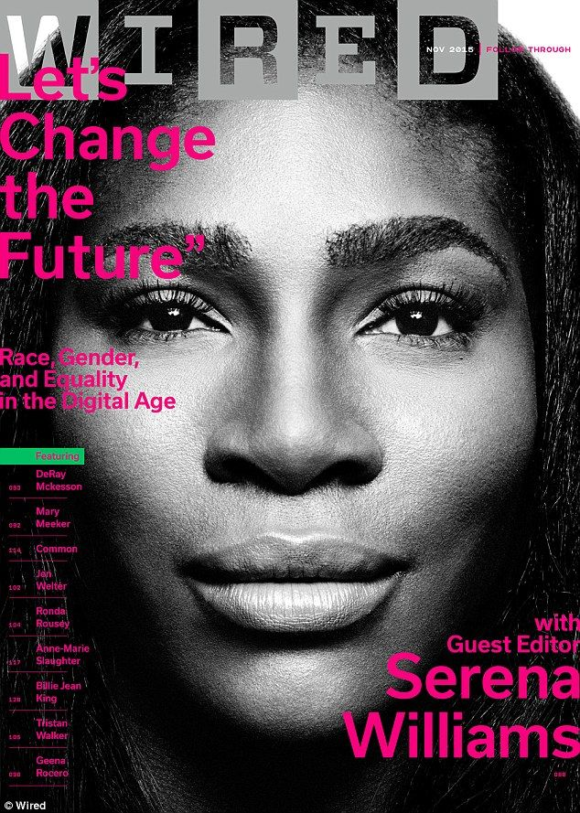 Like a boss: Serena served as a guest editor on the issue, which featured interviews with many other trail blazers for equality including people in sports, technology and music
