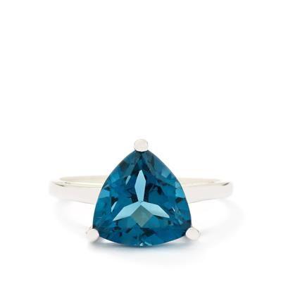 3.81ct London Blue Topaz 9K White Gold Ring