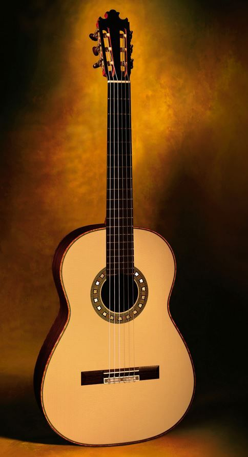 """Classical Guitars Geza Burghardt, Canada Concert Classical Guitar CSA/spr. Rodgers Tuning Machines 2008 $15,000.00 Inquire Here: 216.752.7502 As new condition, very dark brown/black quarter sawn CSA sides and back, old European spr. soundboard with extensive medullary rays, quilted maple bindings, Spanish cedar neck with """"V"""" graft head to neck joint, ebony fingerboard, Santos Hernandez bracing pattern, exceptional French polish of shellac finish, workmanship of unsurpassed perfection…"""