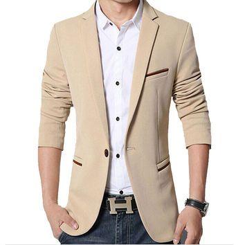Mens Korean slim fit fashion cotton blazer Suit Jacket black blue khaki M to 5XL Male blazers Mens coat Wedding dress