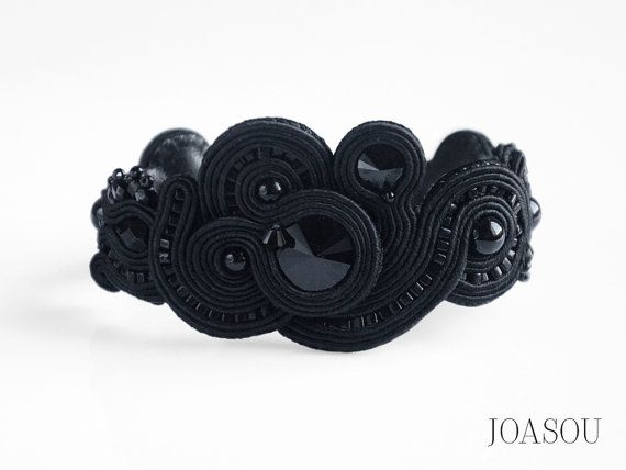 Black statement bracelet black cuff bracelet by JoasouDesign