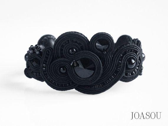 Black statement bracelet black cuff bracelet by JoasouDesign