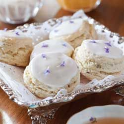 Lavender Cream Scones ~Your guests will feel like royalty when you present these Lavender Cream Scones, garnished with fresh lavender flowers for an air of eleganc...