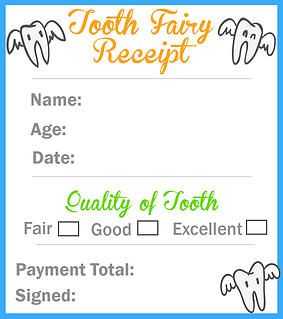 Mommalicious | Parenting website | Tooth Fairy Receipt Printable