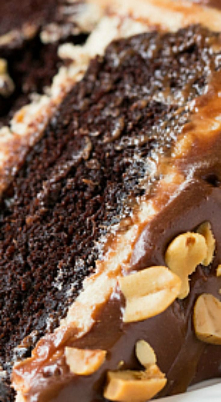 Snickers Cake ~ A cake reminiscent of a Snickers bar - chocolate cake with a peanut nougat filling, covered in a salted caramel buttercream and topped with a milk chocolate ganache and chopped peanuts.