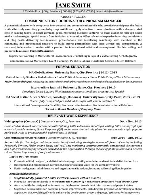 Communication Coordinator Program Manager Resume
