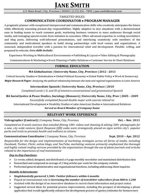 Communication Coordinator | Program Manager Resume Template | Premium Resume Samples & Example