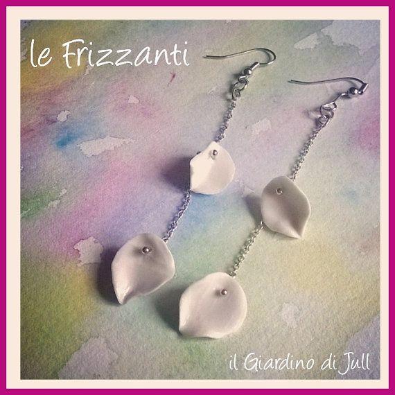 porcelain earrings le Frizzanti, orecchini pendenti di porcellana, by IlGiardinodiJull on Etsy