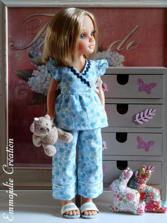 "Pyjama pour poupée Nancy - ""Ninon"""