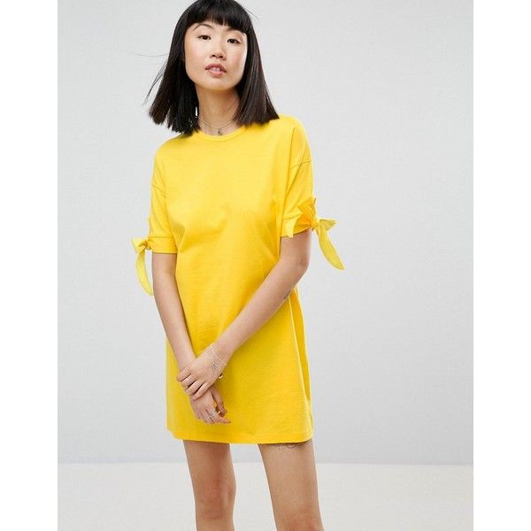 ASOS T-Shirt Dress with Bow Sleeve ($23) ❤ liked on Polyvore featuring dresses, yellow, holiday party dresses, asos dresses, yellow party dress, night out dresses and t-shirt dresses