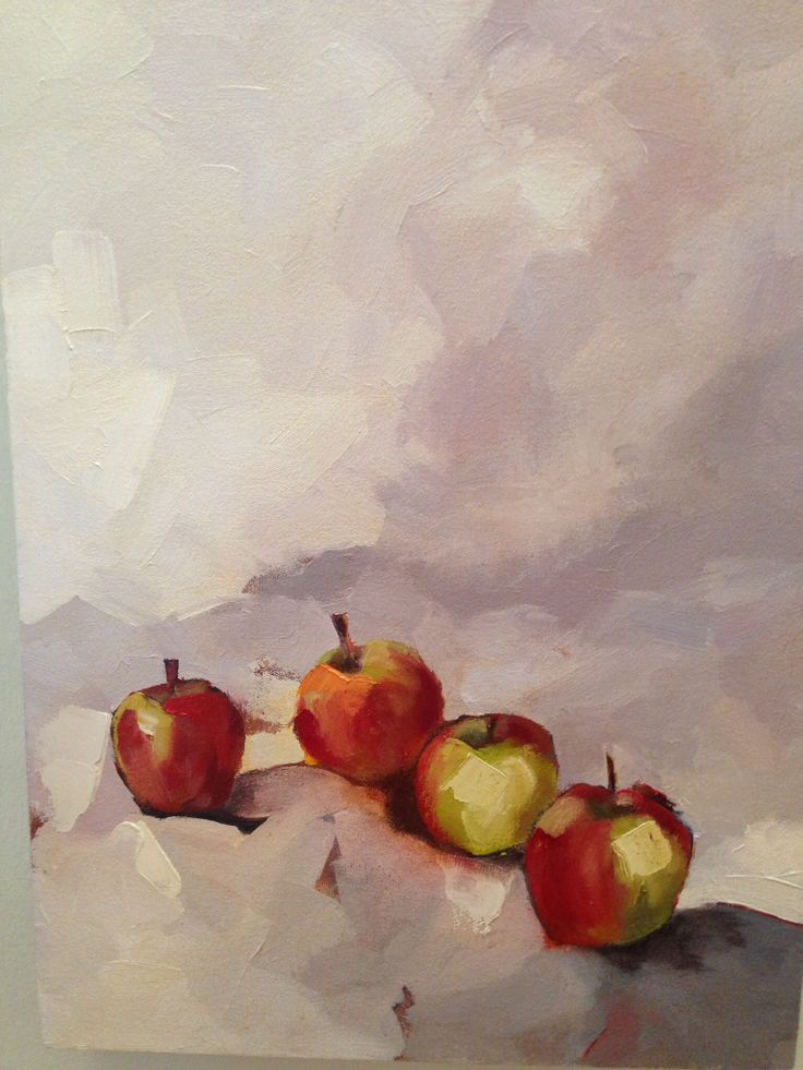 Four red apples