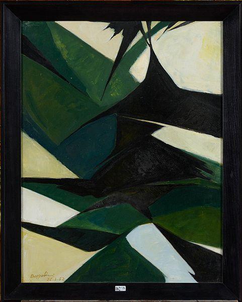 BOZZOLINI Silvano (1911 - 1998)  Huile sur papier  Composition . Signé en bas à gauche Bozzolini et daté 26.3.62. Ecole italienne. Dim.:64.5x50cm.
