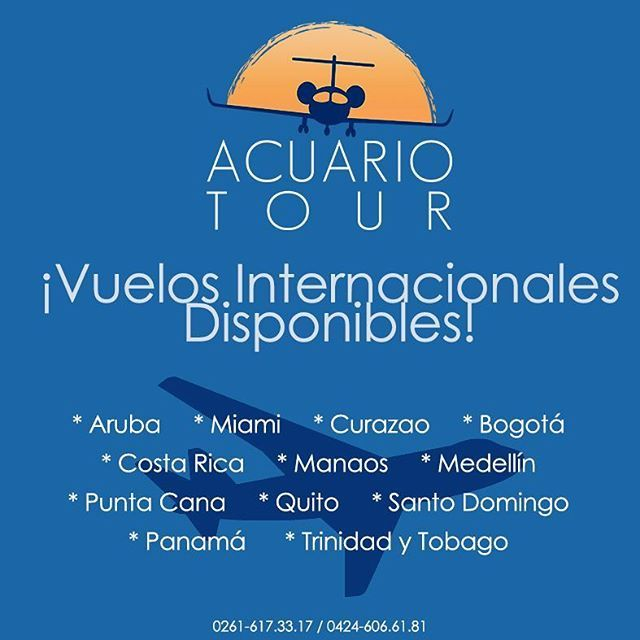 ¡Vuelos Internacionales Disponibles!  Contamos con disponibillidad para viajar a * Aruba * Miami * Curazao * Bogotá * Costa Rica * Manaos * Medellín * Punta Cana * Quito * Santo Domingo * Panamá * Trinidad y Tobago.  Contáctanos y reserva tu boleto: mbacuariotours@gmail.com / ipacuariotours@gmail.com.  #Boletos #Internacional #Disponibilidad #Viaja #Conoce #Miami #Panamá #Curazao #Aruba #Quito #Bogotá #AVT #AcuarioTour #Maracaibo #Zulia #Venezuela