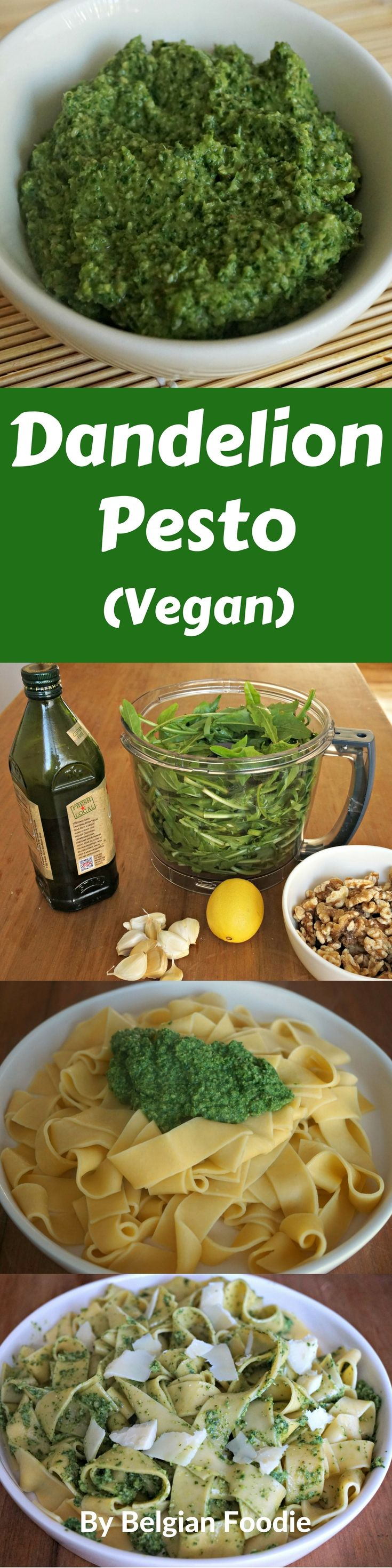 Homemade Dandelion Pesto (VEGAN) that is easy to make, healthy and very tasty!