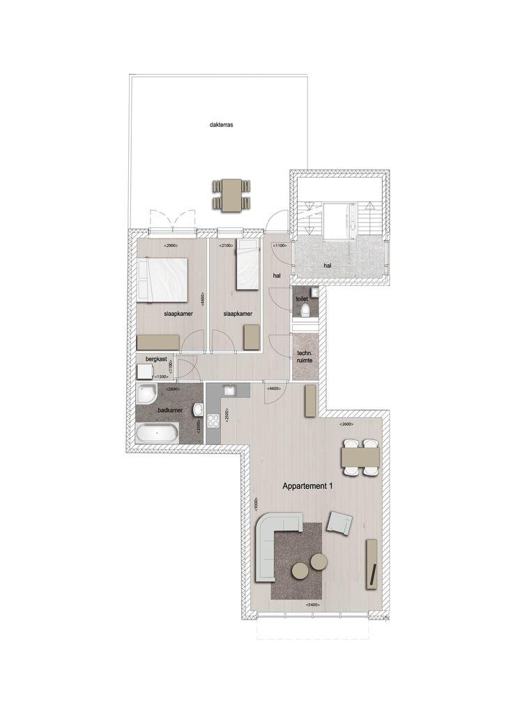 Voorbeeld indeling appartement 1