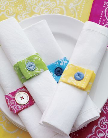 Everyone gets their own color of napkin ring so they can reuse their napkin later.