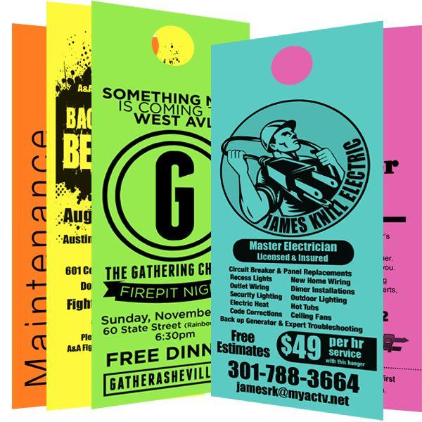 Door Hangers Black Printing 4 25 X 11 47 15 Place Your Order Call On 1 844 872 6544 Chea Door Hanger Printing Custom Door Hangers Custom Vinyl Banners