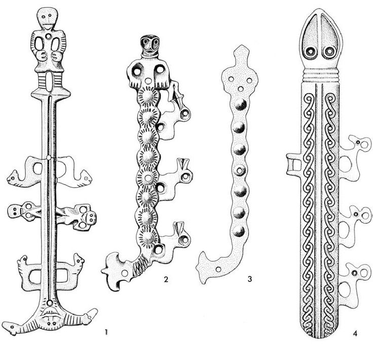 """Early medieval West Slavic objects with decorations of religious background:     1 - knife scabbard fitting discovered in Starigard / Oldenburg, Germany.     2 - knife scabbard fitting discovered in Brześć Kujawski, Poland.     3 - knife scabbard fitting discovered in Schwedt, Germany.     4 - spur discovered in Lutomiersk, Poland.  Source: Sebastian Brather """"Archäologie der westlichen Slawen"""", 2008"""