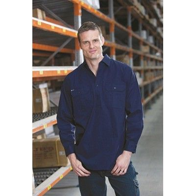Designed Long Sleeve Half Close Front Workshirt Min 25 - 100% Cotton, Half Buttoned Front and Collar, Two Chest Pockets with Button Down Flap, Matching Buttons,190grm Fabric. http://www.promosxchange.com.au/designed-long-sleeve-half-close-front-workshirt/p-8685.html