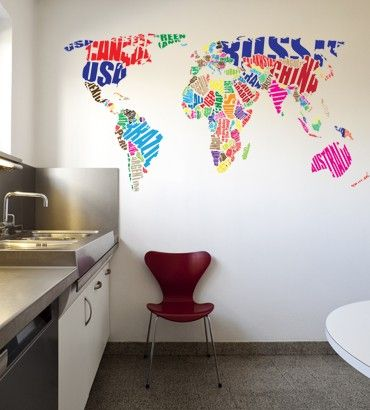 Streetwallz - World Map Typography Wall Decal, $105.00 (http://www.streetwallz.com/world-map-typography-wall-decal/)