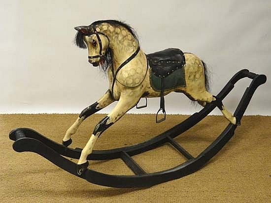Vintage Rocking Horse :  G & J Lines Dapple Grey Rocking Horse, on bows w/ removable turned wooden pommel handles, fully tacked, turned  sections, Glass eyes... see book; 'The English Dapple Grey' for reference/info....