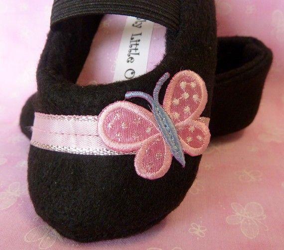 Black mary jane with pink butterfly by OnlyLittleOnce on Etsy