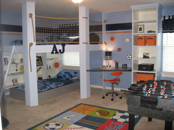 AJ's Getaway, Our son loves his new bedroom. The loft up top has a bed and a bean bag with plenty of room to goof around., Boys' Rooms Design