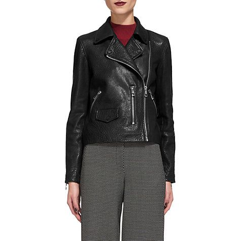 Buy Whistles Agnes Bubble Leather Biker Jacket, Black Online at johnlewis.com